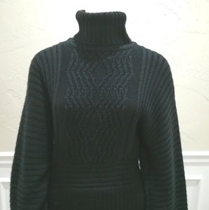 Adrianne Papell black turtleneck sweater dress